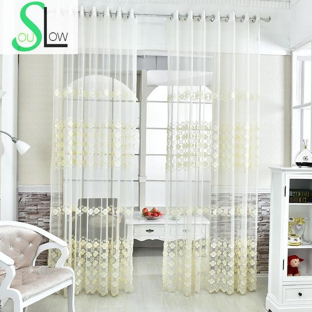 Cream Embroidery Yarn Mesh Curtain Floral Embroidered French ...