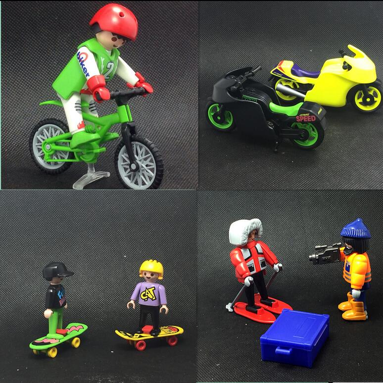 Scene Model Playmobil City Enfant Children Family Figures Motorcycle Bike Bricks Soldier Traffic Police Playmobil Block Set Toys ...