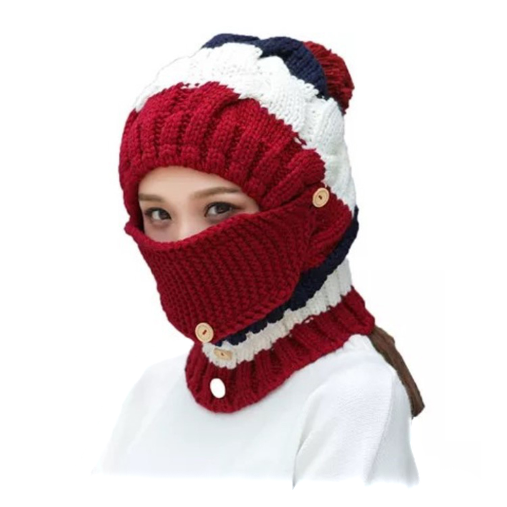 Women Winter Knitted Thickened Integrated Beanie Cap Scarf Adjustable Face Mask for Driving Cycling -MX8