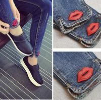 5XL Plus Size New Women Denim Pants Female Wearing Red Lips Print Jeans Slim Pencil Pants