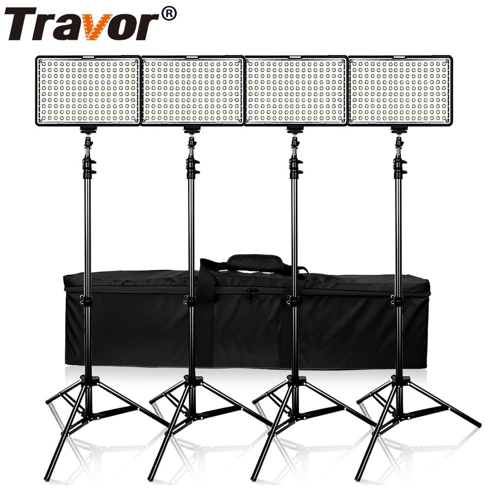 Travor 4 en 1 160 Studio luz regulable Luz de cámara Panel Digital cámara DSLR videocámara. fotografía, luz, con 4 piezas baterías