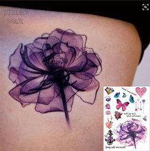W02 1 Piece Purple Watercolor Dreamy Lotus On The Waist Temporary Tattoo With Butterfly Heart Diamond Pattern Tattoos