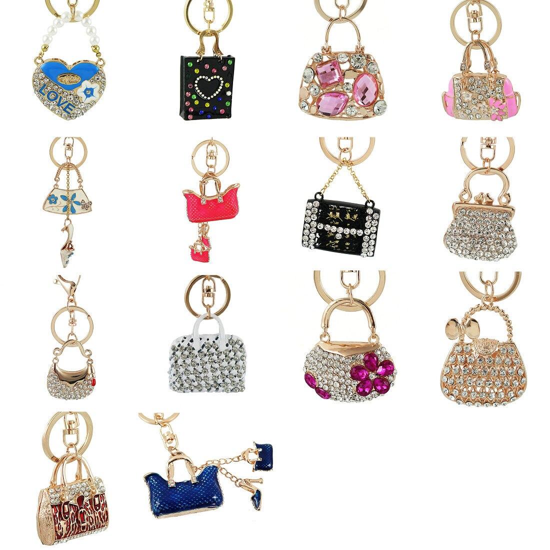 Exquisite Charm Fashion Keychain Creative Handbag Shaped Design Keychain Crystal Purse Bag Keyring Key Chain Female Gift