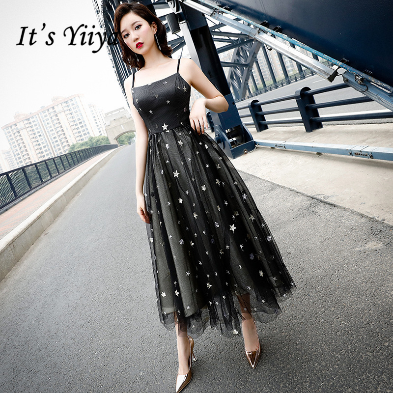 It's YiiYa   Cocktail     Dresses   Sexy Spaghetti Strap Backless Party Gowns Sequined Lace Illuesion Ankle-Length Formal   Dress   E383