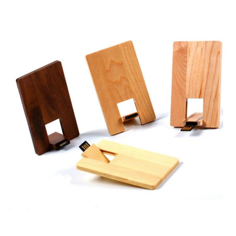 New Style Custom LOGO Wood Card USB 2.0 Flash Drive Pendrive 64GB 32GB 16GB 8GB 4GB Thumbdrive Usb Card Stick Pen Drive Pendrive