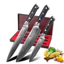 SUNNECKO 3PCS High Grade Kitchen Knives Gift Box Set Chef Knife Japanese Damascus VG10 Steel Sharp G10 Handle Cutting Tools