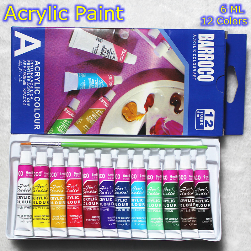 6 ML 12 Colors Professional Acrylic Paints Set Hand Painted Wall Painting Textile Paint Brightly Colored Art Supplies Free Brush 6 ml 12 colors professional acrylic paints set hand painted wall painting textile paint brightly colored art supplies free brush