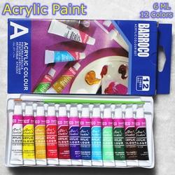 6 ml 12 cores profissional conjunto de tintas acrílicas pintados à mão pintura de parede pintura têxtil cores brilhantes fontes da arte livre escova