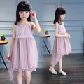 Pink White Lace Princess Dress Sumer 2017 Kids Dresses for Girls