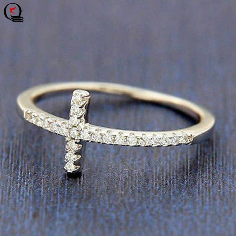 Bague plaquée argent exquise pour les femmes éternité bague croix chrétienne nouvelle mode cadeaux de fête bijoux