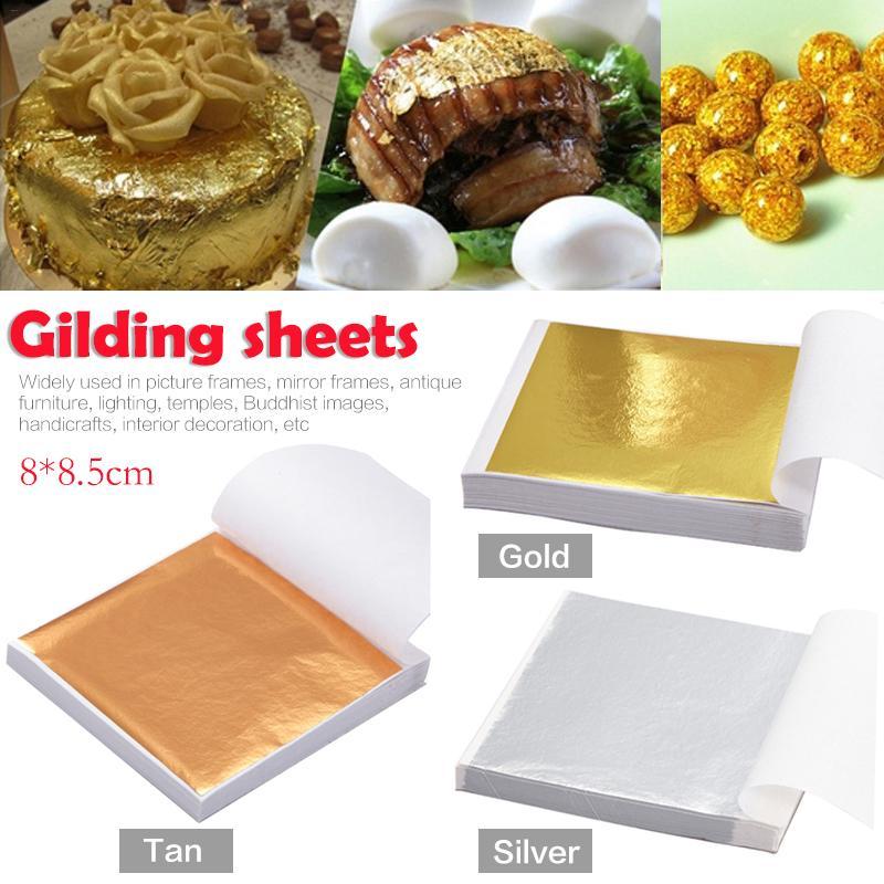 100Pcs Art Craft Design Paper Imitation Gold Sliver Copper Leaf Leaves Sheets Foil Paper For Gilding DIY Craft Decoration 40