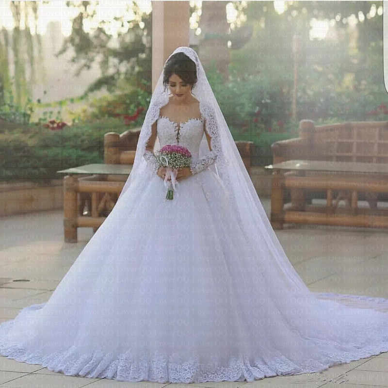 2019 Sexy Elegant Princess Ball Gown Wedding Dresses Sheer
