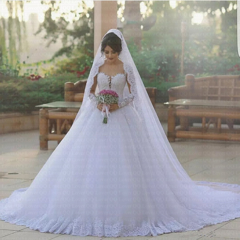 2019 Sexy Elegant Princess Ball Gown Wedding Dresses Sheer Illusion Neck Long Sleeves Chapel Train Lace Wedding Bride Dresses
