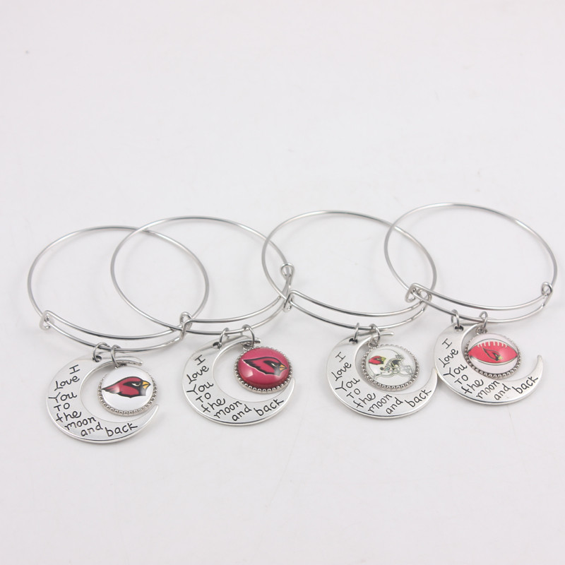 12pcs/lot Arizona Cardinals Football Team Dangle Charms Adjustable Bangles I Love You To the Moon And Back For Fans gifts