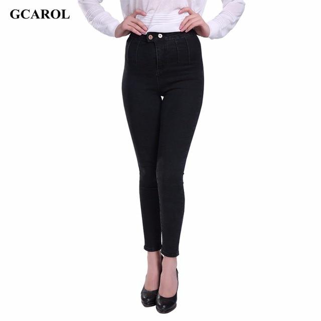 GCAROL Women Korean High Waist Pencil Denim Jeans Slim Stretch Lycra Skinny Pants Summer Spring Autumn Plus Size 34 For 4 Season