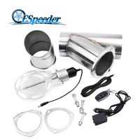 ESPEEDER 4 Inch Stainless Headers Y Pipe Electric Exhaust Cutout Kit With Remote Control Exhaust Cut Out Catback Down Pipe Kit