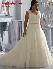 BacklakeGirls Luxury A Line Bride Gowns Sweetheart Neck Court Train Plus Size Wedding Dresses 2017 Custom Made