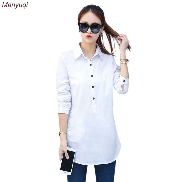 68c0304f2bc White Women Long Blouses Long Sleeve Causal Slim Blouse Shirt Simple Design  Ladies Office Pullover Shirt Summer 2017