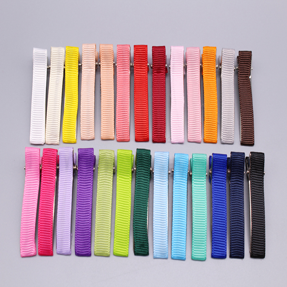 цена на wholesale 100pcs/lot   high quality 4.7cm  Mini DIY Satin Ribbons Clips kids girl Ribbon Alligator Hair Clips 26colors