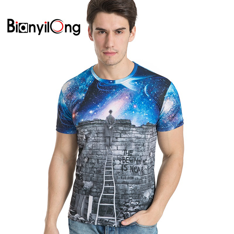 BIANYILONG brand clothing New Arrivals Men/Women Looking at the stars 3d T-shirt Print Summer Tops Tees Tshirts size M-5XL