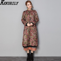 KEKURILY Women Cashmere Long Parka Female Plus Size 3xl 4xl Keep Warm Coat Chinese Style Elegant