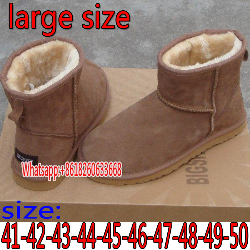 Super large size snow boots High-quality leather boots Men's boots warm and warm in winter 40 41 42 43 44 45 46 47 48 49 50 size босоножки fenyaie 653 43 42 41