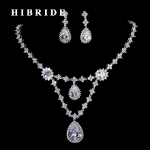 HIBRIDE Luxury Dubai Jewelry Set AAA Cubic Zircon Women Bridal Pendant Necklace Earring Sets For Wedding Party N-193