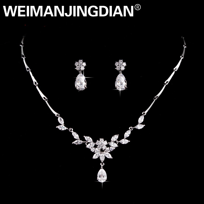 WEIMANJINGDIAN Elegant Teardrop and Floral Design Cubic Zirconia CZ Crystal Necklace and Earring Wedding Bridal Jewelry Set weimanjingdian sparkling cubic zirconia crystal flower design pull string zirconium wedding bracelets for girls or wedding