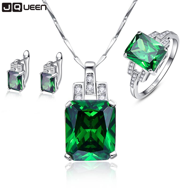 Hope of Green Fine Jewelry Sets Emerald Silver 925 Sterling Pendant Necklace with Earrings Stud Set Green Rings Sz 6-9 for Women pair of stylish rhinestone triangle stud earrings for women