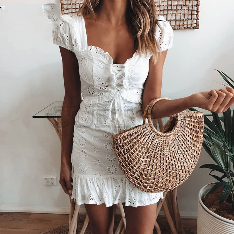 Cuerly Elegant lace floral ruffle dress women Summer up short daily female Sexy mini party beach vestidos L5