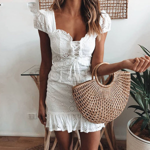 Cuerly Elegant lace floral ruffle dress women Summer lace up short daily dress female Sexy mini party beach dress vestidos L5