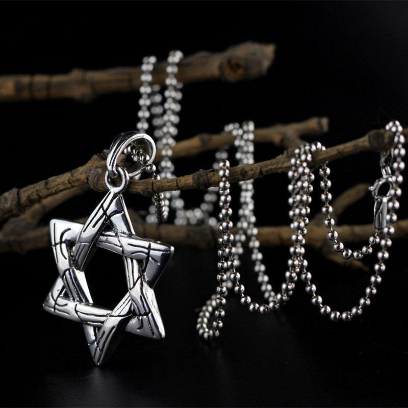 Character Silver Items S925 Pure Silver Ornaments Thai Silver Seiko Ladies Clothing Six-pointed Star Sweater Chain