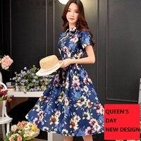 original design 2018 brand vestidos summer palace vintage short sleeve long high waist zipper slim floral dress women wholesale