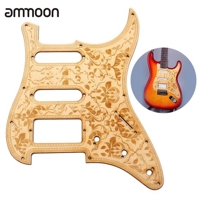 SSH Wooden Guitar Pickguard Maple Wood with Decorative Flower Pattern for Electric Guitars