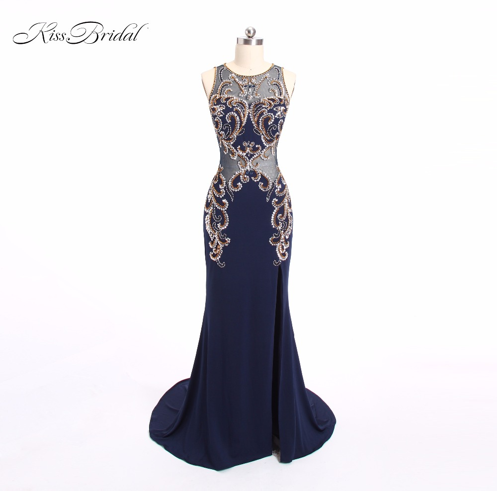 New   Prom     Dresses   See through Sexy Luxury Beaded Crystal Long V-Neck Backless Party Formal Evening Gowns vestido de festa