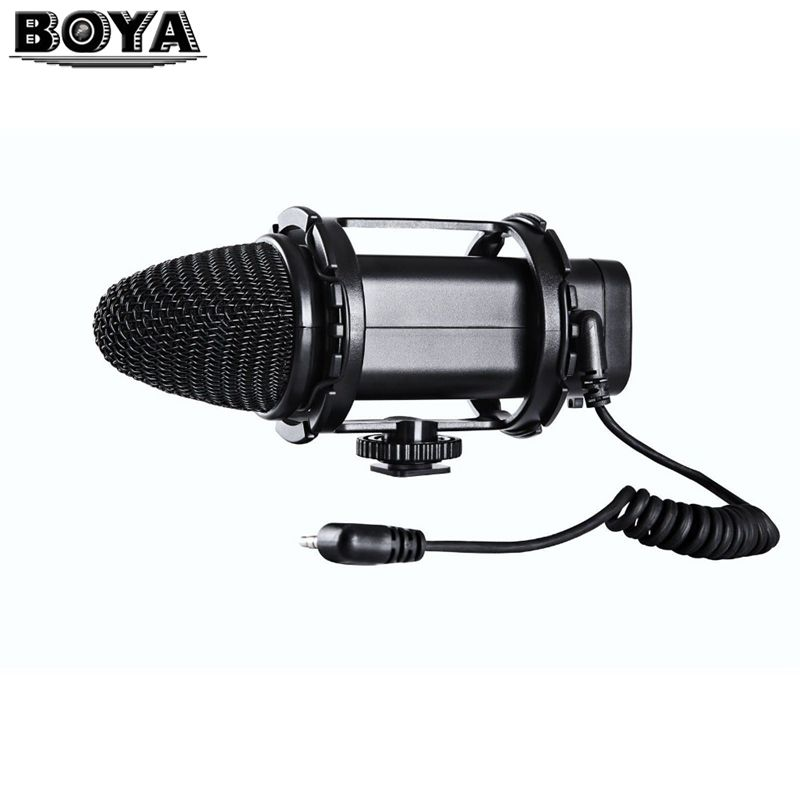 BOYA BY-V02 BY V02 External Stereo X/Y Condenser Camera Video Microphone + Windshield for Canon Nikon DSLR Camera
