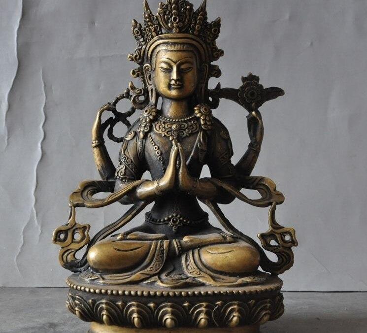 "9"" Tibet Buddhism Bronze 4 Arms Chenrezig Avalokiteshvara Kwan-yin Buddha Statue"