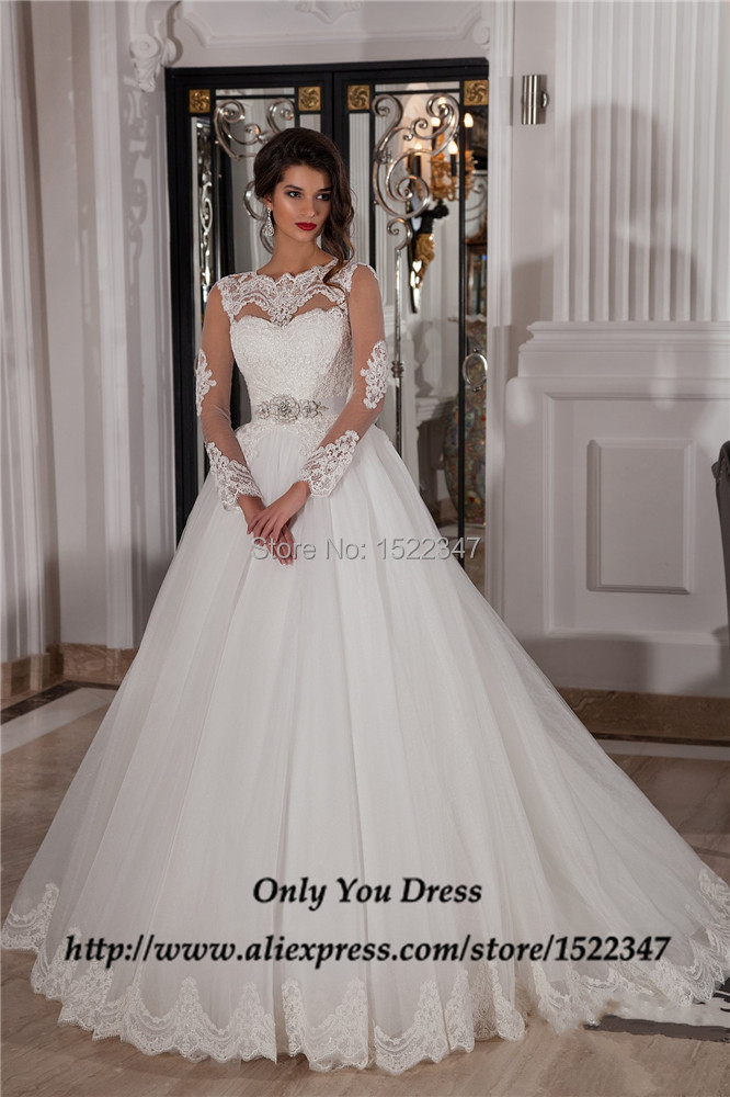 Alibaba Sheer Summer Wedding Dress Long Sleeve A Line Robe De Mariee Dentelle Lace Bridal Gowns 2015 High Quality QW339 In Dresses From Weddings