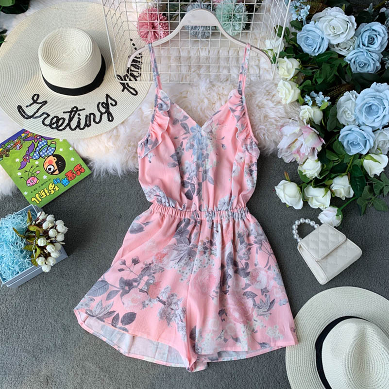 Nicemix Women Summer Short Jumpsuits Deep V Nice Backless Off Shoulder Loose Playsuit Floral Printed Rompers Bodysuit 2019 Flora