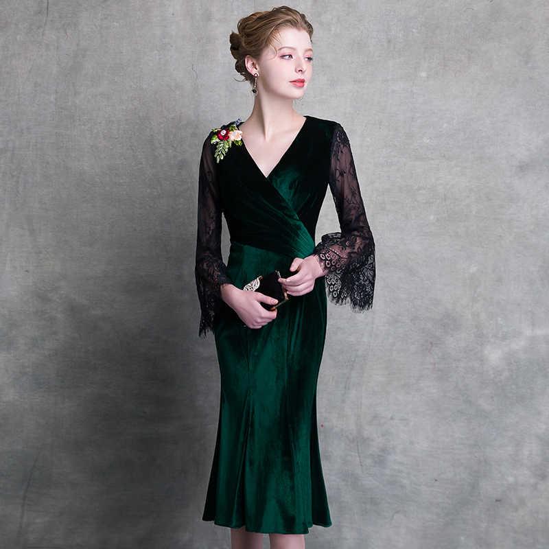 97de44618a6fb6c ... WEIYIN 2019 темно-зеленое короткое коктейльное платье с v-образным  вырезом и длинными рукавами ...