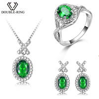 DOUBLE R Silver 925 Earrings Ring Created Oval Emerald Gemstone Pendant Necklace Zircon Women Wedding Jewelry Sets