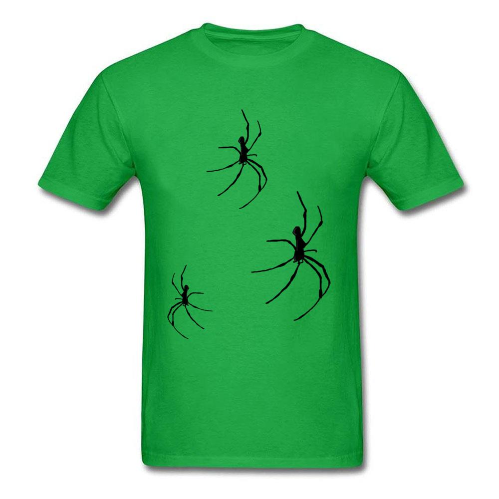 Printed On Spiders O-Neck T-Shirt NEW YEAR DAY Tees Short Sleeve for Men Company Pure Cotton Funny Tshirts Top Quality Spiders green