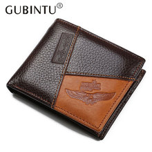 2017 Vintage Men Genuine Cow Leather Wallet Short Designer Card Holder Pocket Fashion Male Carteras Coin Purses Wallets for Men