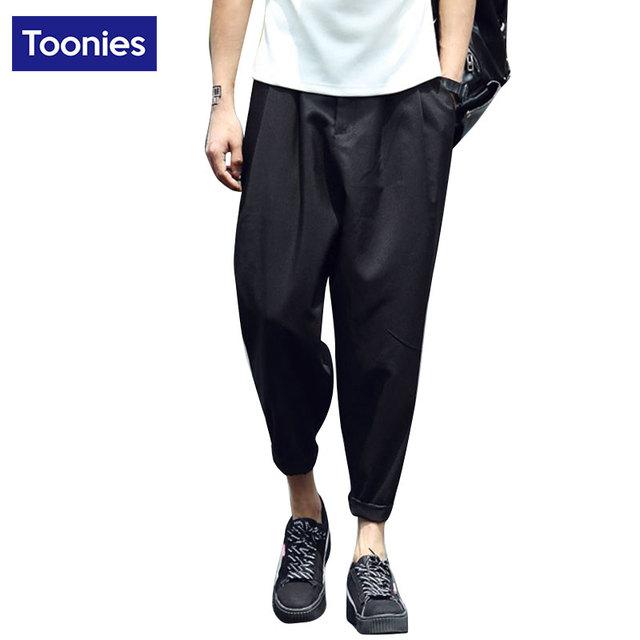 Hip hop harén pantalones de lino sueltas joggers pantalones lápiz casual pantalones de cintura elástica para hombres moda pantalones hombre streetwear