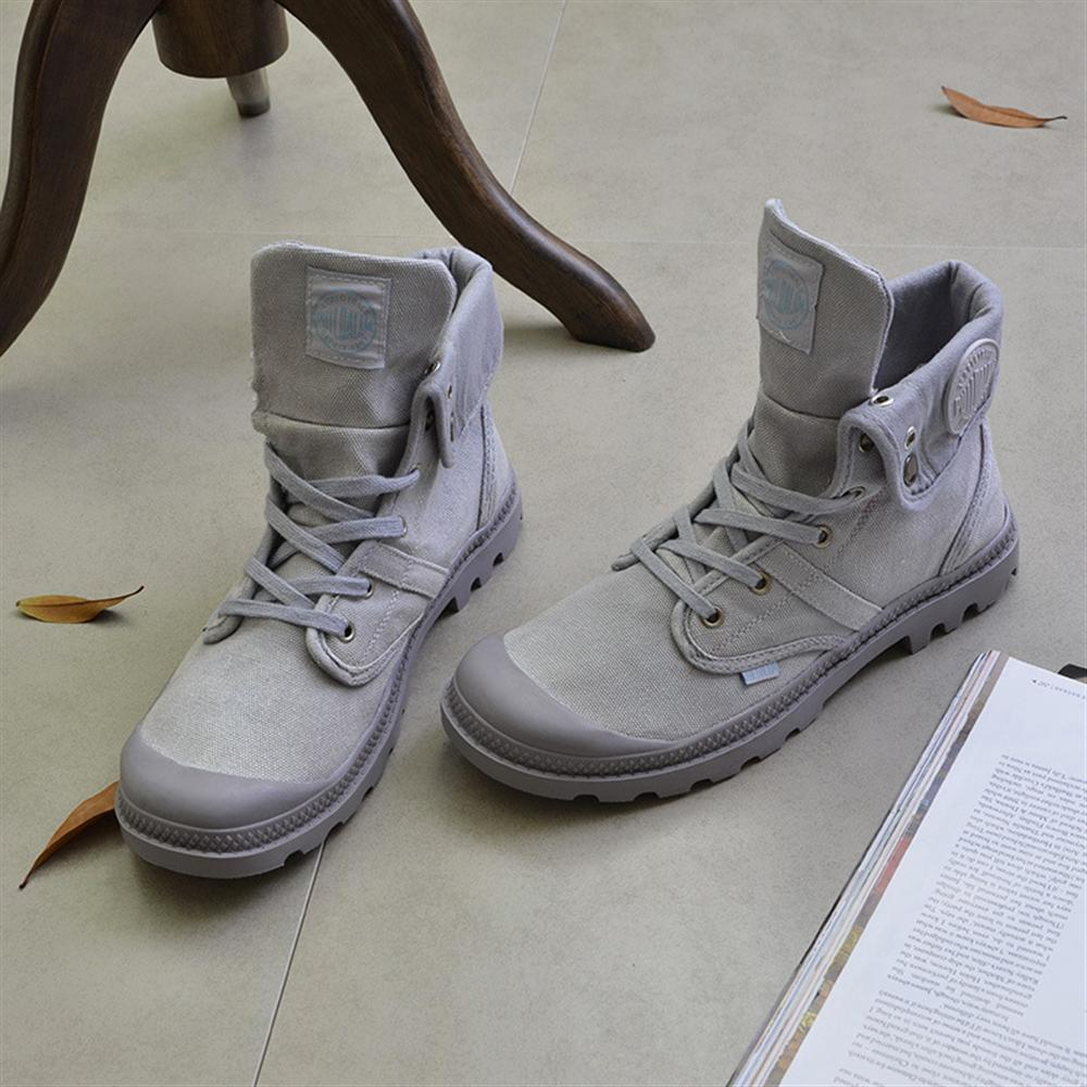 2018 Spring Outdoor Work Shoes Thick-sole High Martin Boots Khaki Gray Men Canvas Sneakers Retro Tide Shoes Tooling Boots 1 pair thick round lace tooling martin boots men women climbing sports shoes high outdoor basketball rope shoes white black gray