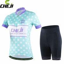 CHEJI Pro Team Ropa Ciclismo Cycling Jersey Top Girls Blue Dot Short Sleeve Bicycle Shorts Set