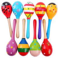 Juguetes navideños para bebés, Maraca de madera colorida, sonajero Musical para desarrollo infantil, juguete de fiesta, 1 Uds.