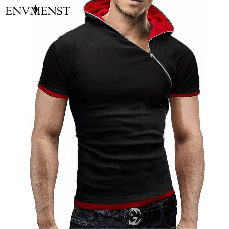 2016 Newest Fashion Style Men S Short Sleeve Hooded Sport Sweatshirt Oblique Zipper Hoodies For Men
