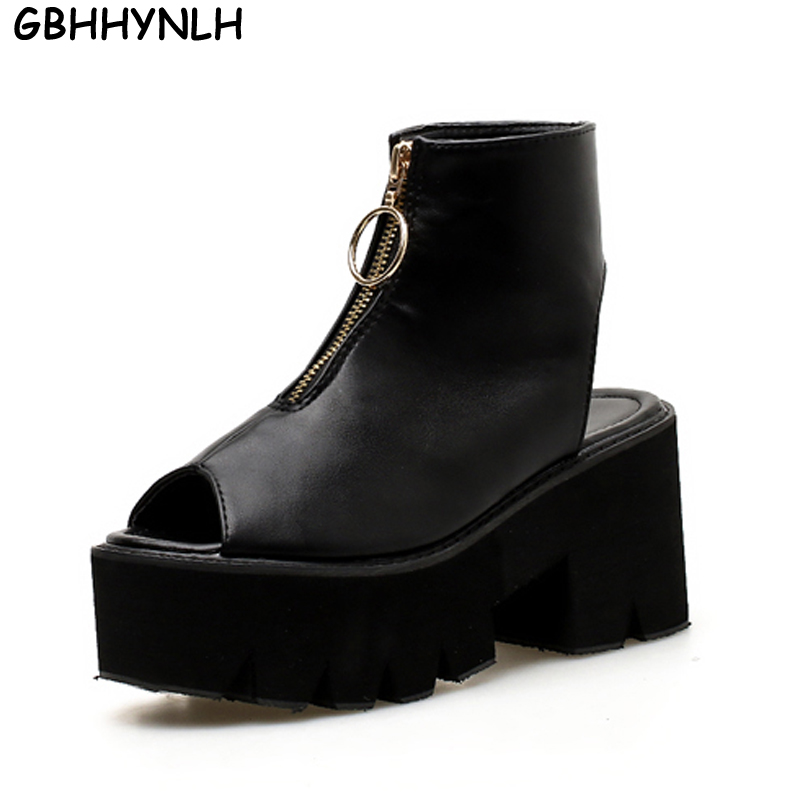 GBHHYNLH strappy sandals gladiator women shoes peep toe high heels black sandals summer shoes platform sandals punk LJA417-in High Heels from Shoes    1