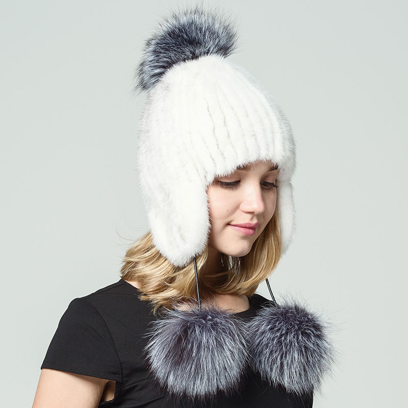 Natural Mink Fur Hats With Fox Fur Pompon Women Winter Thick Warm Beanies Cap Female Real Knitted Mink Fur Hat 2017 High Quality ha117 new stripe autumn winter beanies with big fox raccoon fur pompon genuine mink black brown gray fur hats